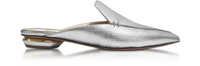 Beya Silver Metallic Tumbled Leather Mule - Nicholas Kirkwood