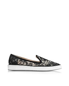 Alona Black Viscosa Lace Slipper - Nicholas Kirkwood