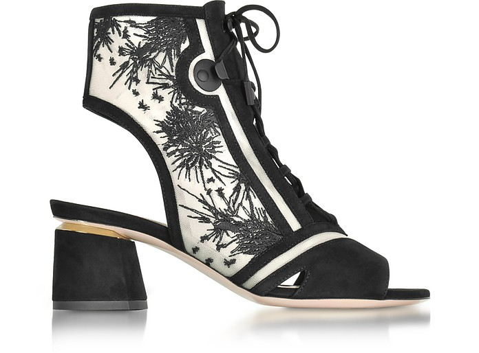Phoenix Black Embroidered Lace-up Bootie - Nicholas Kirkwood / ニコラス カークウッド