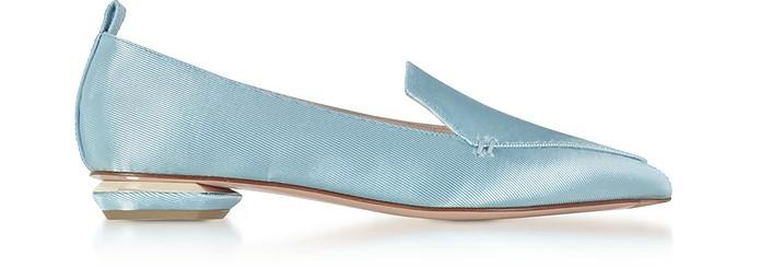 Platinum Blue Satin Beya Loafers - Nicholas Kirkwood