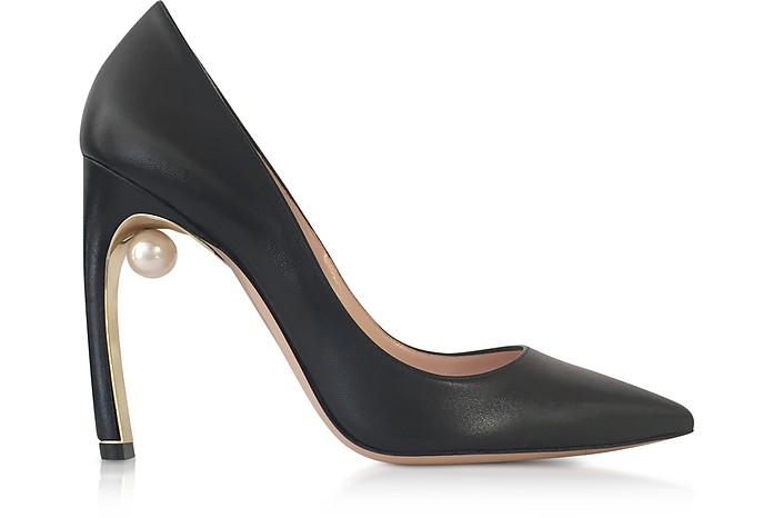 Black Nappa leather Mira Pearl Pumps - Nicholas Kirkwood / ニコラス カークウッド