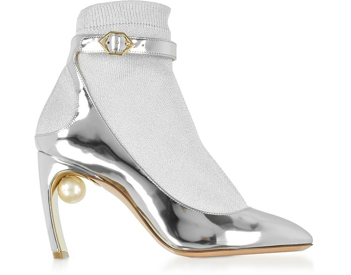 Silver Laminated Leather and Fabric Lola Pearl Sock Pumps - Nicholas Kirkwood