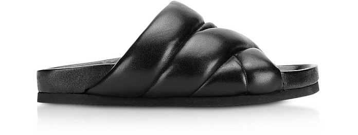 Black Nappa Leather 10mm Puffer Slide Sandals - Nicholas Kirkwood