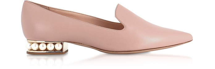 Blush Nappa Leather 25mm Casati Pearl Loafer - Nicholas Kirkwood