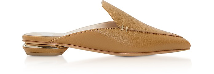 Tan Grainy Leather 18mm Beya Flat Mules  - Nicholas Kirkwood