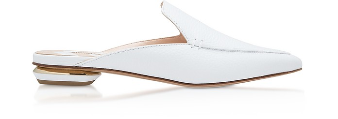 White Grainy Leather 18mm Beya Flat Mules - Nicholas Kirkwood
