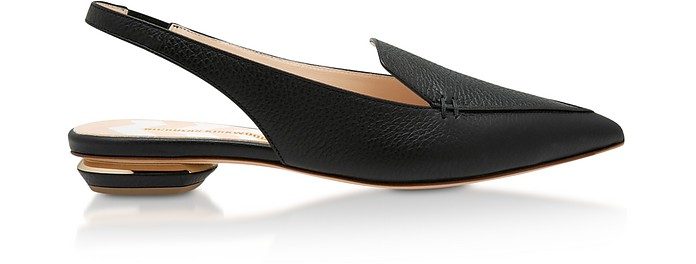Black Grainy Leather 18mm Beya SlingBack Ballerinas - Nicholas Kirkwood