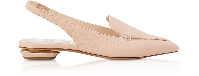 Powder Pink Grainy Leather 18mm Beya SlingBack Ballerinas - Nicholas Kirkwood