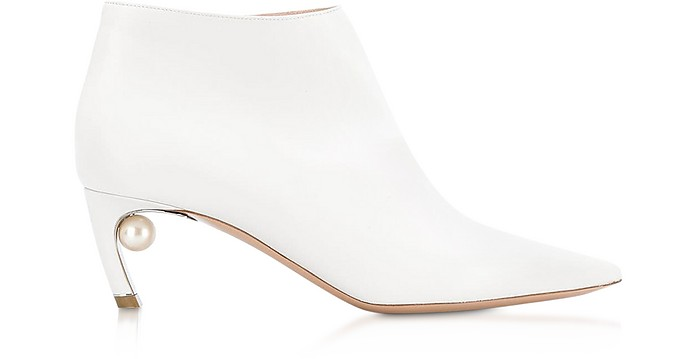 White Nappa Leather 55mm Mira Pearl Low Bootie - Nicholas Kirkwood