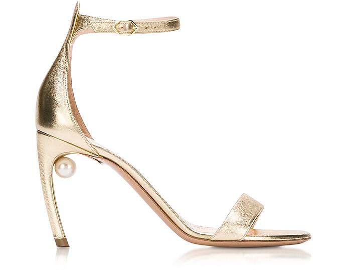 Metallic Nappa 90mm Mira Pearl Sandals - Nicholas Kirkwood