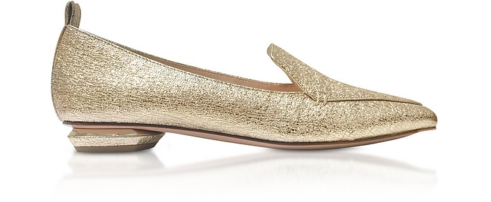 Platino Crinkly Metallic Leather 18mm Beya Loafers - Nicholas Kirkwood