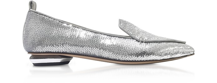 Silver Paillettes 18mm Beya Loafer Shoes - Nicholas Kirkwood