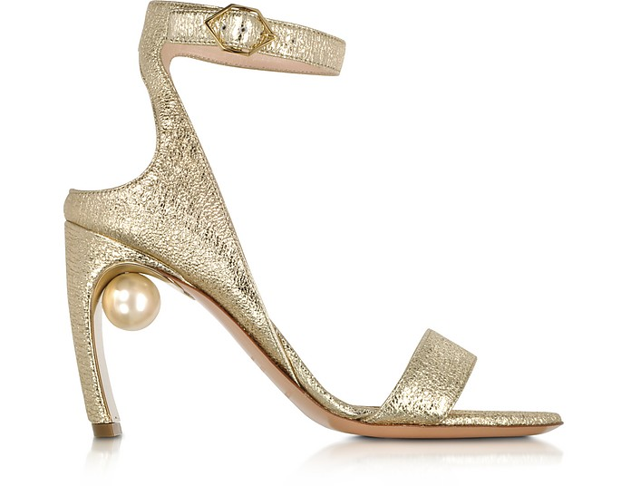 Crinkly Metallic Leather 90mm Lola Pearl Sandals - Nicholas Kirkwood