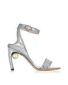 Silver Sequins 90mm Lola Pearl Sandals - Nicholas Kirkwood