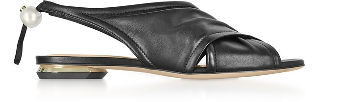 Black Nappa 10mm Delfi Sandals - Nicholas Kirkwood