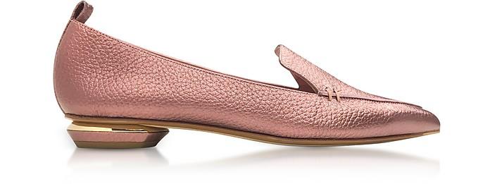 Beya Dusty Pink Metallic Tumbled Leather Loafer - Nicholas Kirkwood