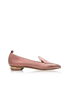 Beya Dusty Pink Metallic Tumbled Leather Loafer - Nicholas Kirkwood