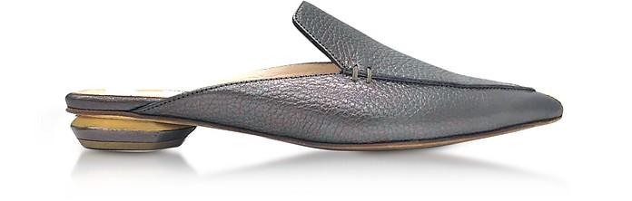 Beya Pewter Metallic Tumbled Leather Loafer - Nicholas Kirkwood