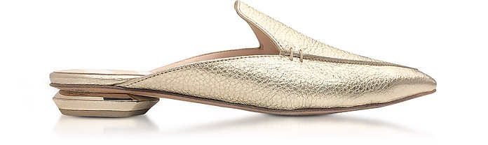 Beya Platino Metallic Tumbled Leather Loafer - Nicholas Kirkwood