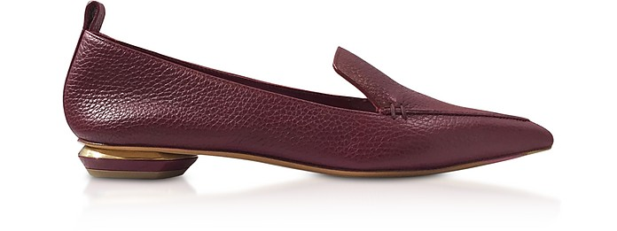 Beya Burgundy Tumbled Leather Loafers - Nicholas Kirkwood