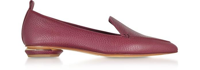 Beya Burgundy Tumbled Leather Loafers - Nicholas Kirkwood