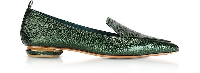 Beya Metallic Emerald Green Tumbled Leather Loafers - Nicholas Kirkwood