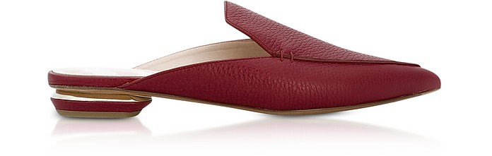 Beya Burgundy Tumbled Leather Mules - Nicholas Kirkwood