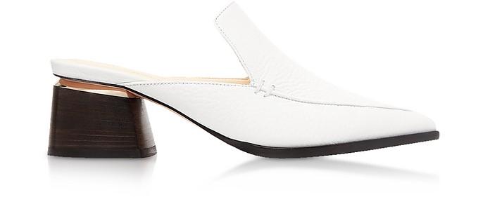 55mm Beya White Tumbled Leather Mules - Nicholas Kirkwood