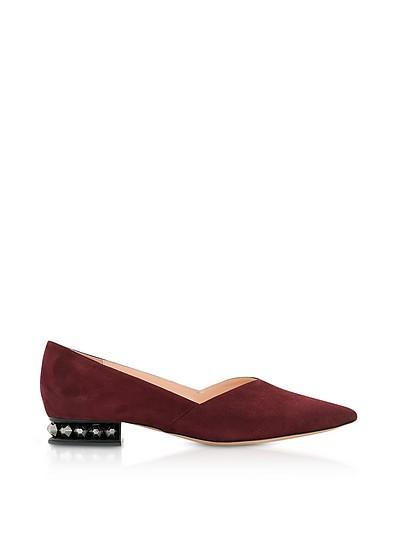 Nicholas Kirkwood Designer Shoes, Beya Metallic Emerald Tumbled Leather Loafers