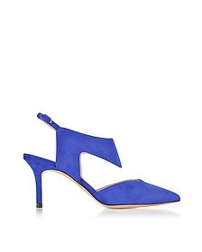 70mm Royal Blue Suede Leda Pump - Nicholas Kirkwood