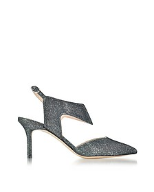 70mm Gunmetal Fabric Leda Pump - Nicholas Kirkwood
