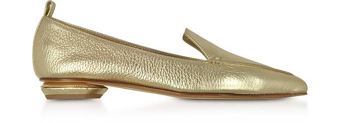Beya Metallic Platino Tumbled Leather Loafers  - Nicholas Kirkwood