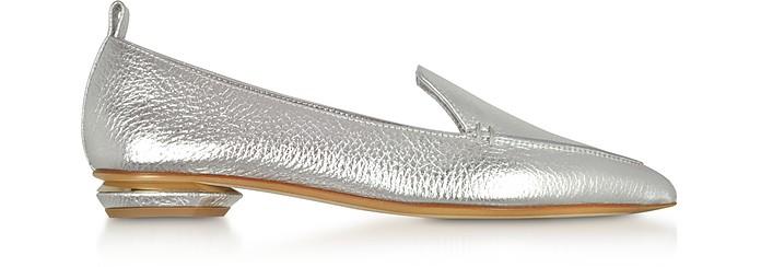 Beya Metallic Silver Tumbled Leather Loafers - Nicholas Kirkwood