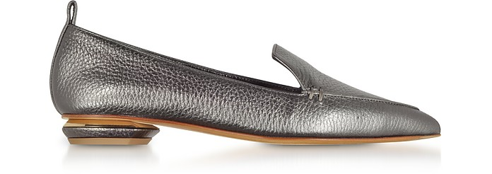 Beya Metallic Pewter Tumbled Leather Loafers - Nicholas Kirkwood / ニコラス カークウッド