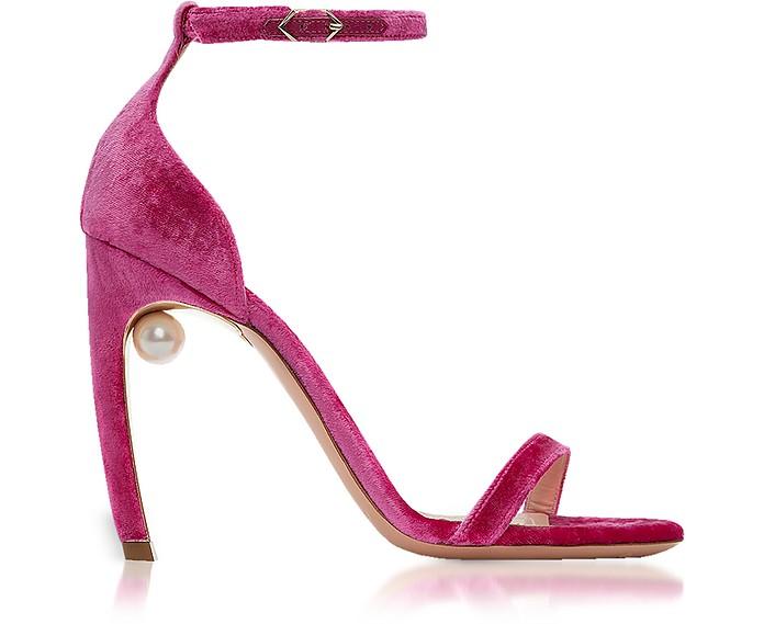 紫红色天鹅绒105毫米Mira珍珠凉鞋 - Nicholas Kirkwood