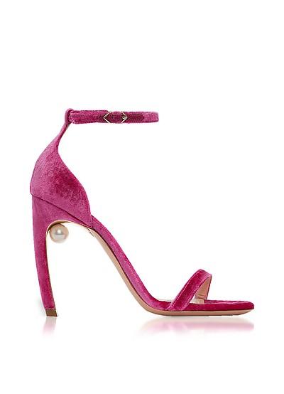 Fuchsia Velvet 105mm Mira Pearl Sandals  - Nicholas Kirkwood