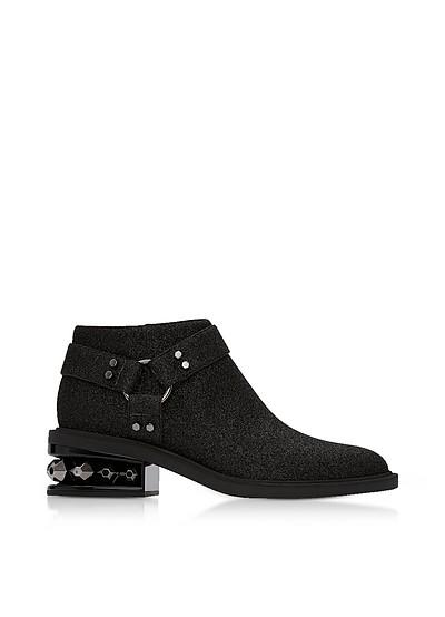 Black Glitter Textured Canvas and Leather 35mm Suzi Low Biker Boots - Nicholas Kirkwood