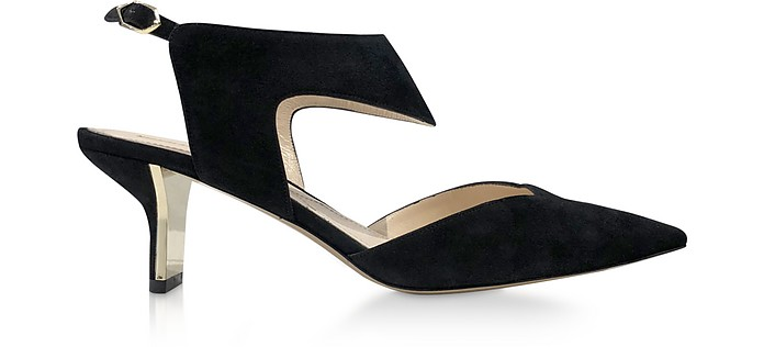 Black Suede 60mm Leeloo Sling Pumps - Nicholas Kirkwood