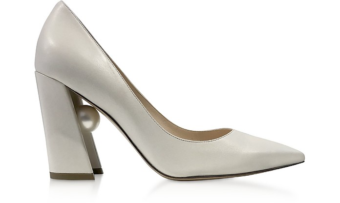 Ecru Nappa Leather 90mm Miri Pumps - Nicholas Kirkwood