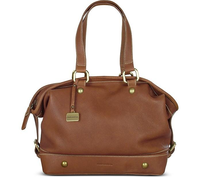 Tan Brown Soft Italian Leather Satchel Bag - Nuovedive