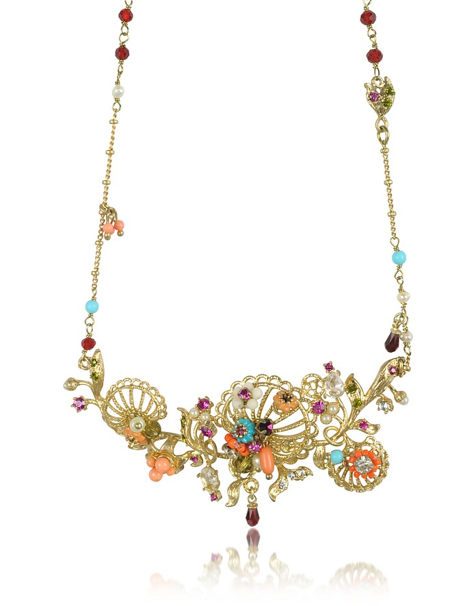 Neo Bourgeoise Arabesques Metal Lace and Embroidery Necklace - Les Nereides
