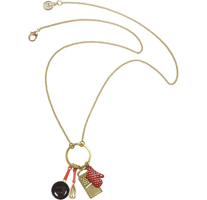 Cuisiniere - Red and Gold Charm Necklace - N2