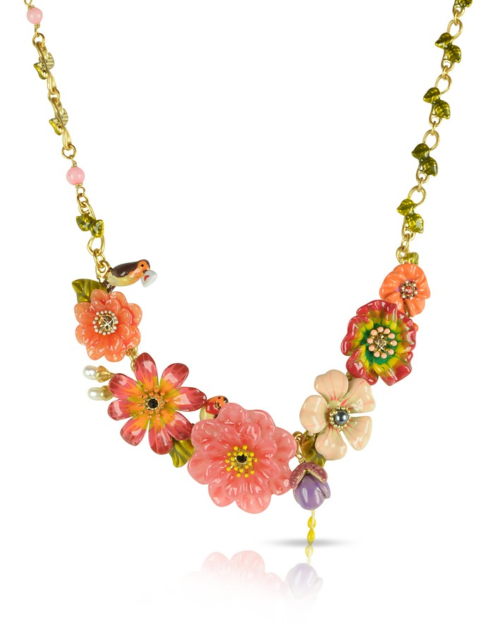 Sous le Chataignier - Robin and Flowers Necklace - Les Nereides