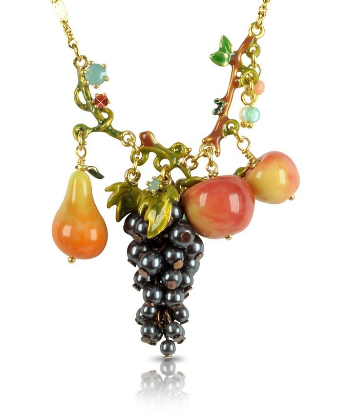 Fruits d'Automne - Black Grape and Apple Necklace - Les Nereides
