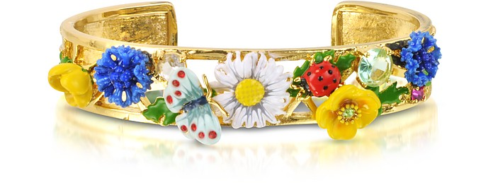 Champetre Large Flowers, Butterfly, Ladybug and Strass Cuff Bracelet - Les Nereides