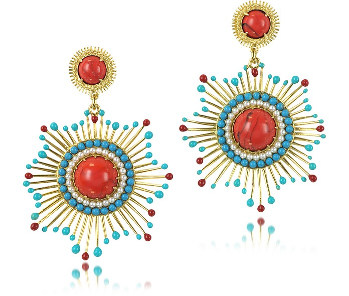Gypsunset Red and Turquoise Drop Earrings - Les Nereides