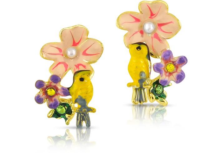 Alphabet Fleuri - Bird & Flower Earrings - Les Nereides