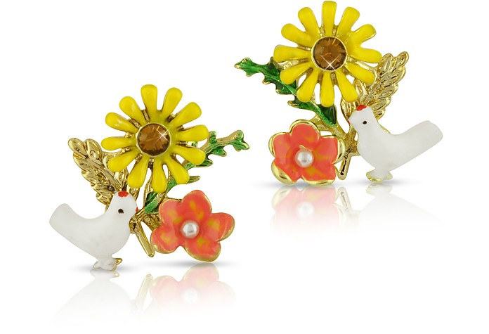 Alphabet Fleuri - White Dove & Sunflower Earrings - Les Nereides