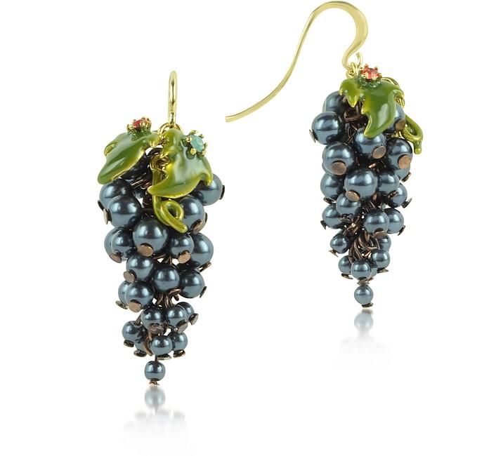 Fruits d'Automne - Black Grape Earrings - Les Nereides