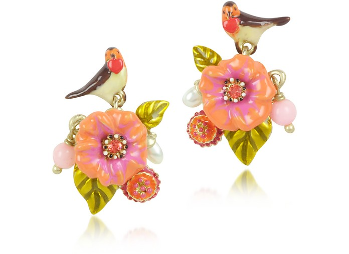 Sous le Chataignier - Robin and Flower Earrings - Les Nereides